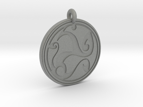 Celtic Spirals - Round Pendant in Gray PA12