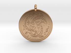 Nehalennia Dolphin Celtic - Round Pendant in Polished Bronze