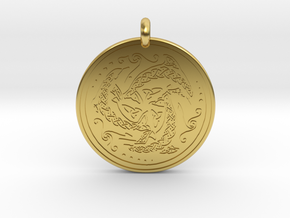 Nehalennia Dolphin Celtic - Round Pendant in Polished Brass