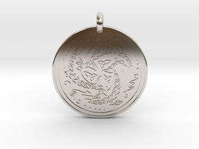 Nehalennia Dolphin Celtic  - Round Pendant in Rhodium Plated Brass