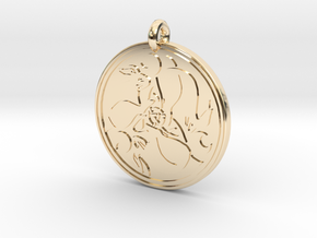 Hare Celtic - Round Pendant in 14K Yellow Gold