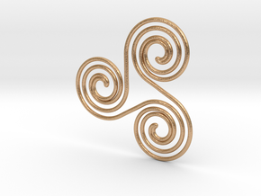 Water triple spiral pendant in Natural Bronze