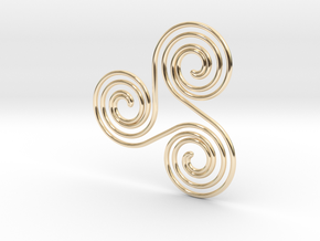 Water triple spiral pendant in 14k Gold Plated Brass