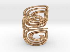 Water triple spiral ring in Natural Bronze