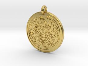 Brigantia Goddess Round Pendant in Polished Brass