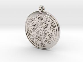 Brigantia Goddess Round Pendant in Rhodium Plated Brass