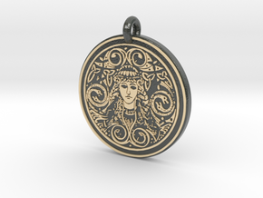 Brigantia Goddess Round Pendant in Glossy Full Color Sandstone