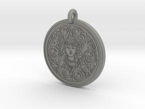 Brigantia Goddess Round Pendant in Gray Professional Plastic