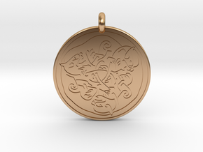 Cat Celtic - Round Pendant in Polished Bronze