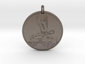 Bald Eagle Soaring Totem Pendant in Polished Bronzed-Silver Steel