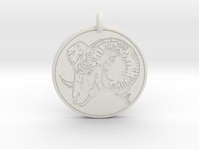 Big Horn Sheep  Animal Totem Pendant in White Natural Versatile Plastic