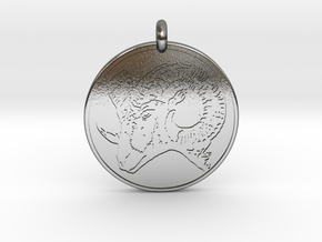 Big Horn Sheep  Animal Totem Pendant in Polished Silver