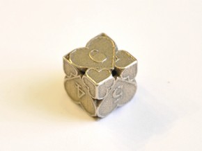 D6 Balanced - Hearts in Polished Bronzed Silver Steel