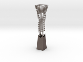 Vase 838FC in Polished Bronzed-Silver Steel