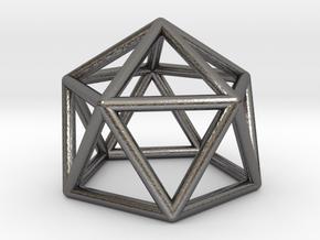 0749 J11 Gyroelongated Pentagonal Pyramid #1 in Polished Nickel Steel
