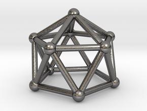 0750 J11 Gyroelongated Pentagonal Pyramid #2 in Polished Nickel Steel