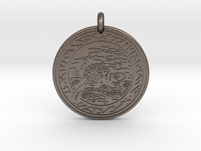 Beaver Animal Totem Pendant in Polished Bronzed-Silver Steel