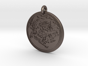 Alligator Animal Totem Pendant in Polished Bronzed-Silver Steel