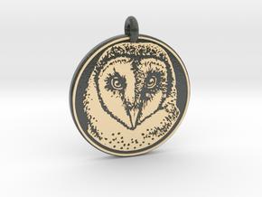 Barn Owl Animal Totem Pendant in Glossy Full Color Sandstone