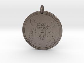 Black Bear Portait Animal Totem Pendant in Polished Bronzed-Silver Steel