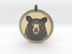 Black Bear Portait Animal Totem Pendant in Glossy Full Color Sandstone