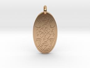 Celtic Cross - Oval Pendant in Polished Bronze