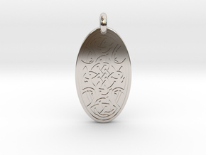 Celtic Cross - Oval Pendant in Rhodium Plated Brass