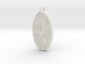 Sacred Tree/Tree of Life - Oval Pendant in White Natural Versatile Plastic