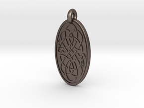 Serpent - Oval Pendant in Polished Bronzed-Silver Steel