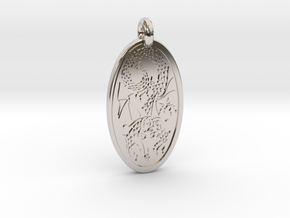 Dragon - Oval Pendant in Platinum