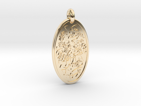 Divine Couple - Round Pendant in 14k Gold Plated Brass