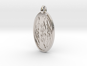 Cat - Oval Pendant in Platinum