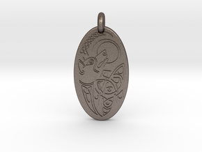 Dog - Oval Pendant in Polished Bronzed-Silver Steel