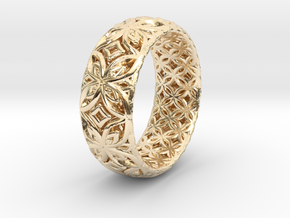 Java Ring Kawong Double Pattern in 14K Yellow Gold