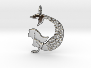 Mermaid pendant necklace in Polished Silver