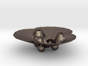 3pFractalBowl in Polished Bronzed-Silver Steel