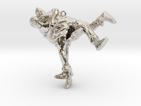 Swiss wrestling - 55mm high in Rhodium Plated Brass