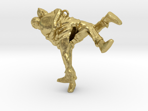 Swiss wrestling - 45mm high in Natural Brass