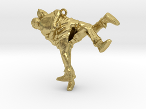 Swiss wrestling - 40mm high in Natural Brass