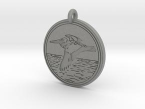Brown Pelican Animal Totem Pendant in Gray Professional Plastic