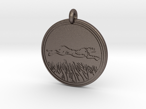 Cheetah Animal Totem Pendant in Polished Bronzed-Silver Steel
