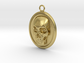 Skull Necklace in Natural Brass