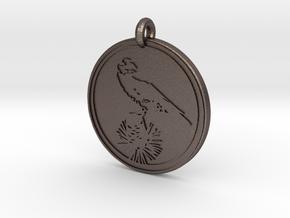 Clark's Nutcracker Animal Totem Pendant in Polished Bronzed-Silver Steel