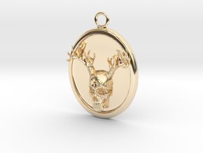 Antler Skull Necklace in 14k Gold Plated Brass