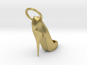 Right Foot Heel Earring in Natural Brass