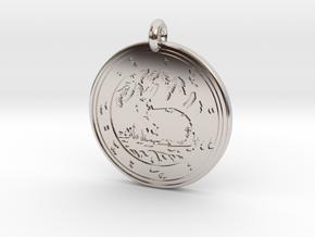 Cottontail Rabbit Animal Totem Pendant in Rhodium Plated Brass