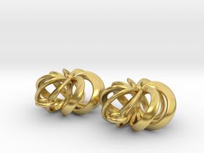 Rosette - Earrings in cast metals or steel in Polished Brass