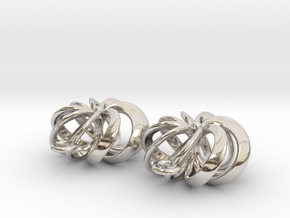 Rosette - Earrings in cast metals or steel in Rhodium Plated Brass