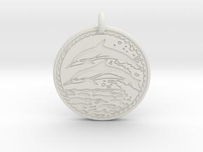 Dolphin Animal Totem Pendant in White Natural Versatile Plastic