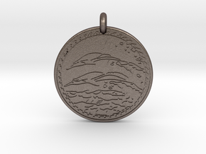 Dolphin Animal Totem Pendant in Polished Bronzed-Silver Steel